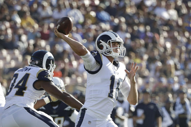 "<a class=""link rapid-noclick-resp"" href=""/nfl/players/29235/"" data-ylk=""slk:Jared Goff"">Jared Goff</a> struggled to hold onto the football on Saturday vs. the Chargers. (AP)"