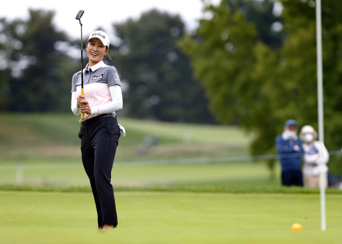 Chella Choi, of South Korea, reacts after putting the fifth hole during the third round of the LPGA's Cognizant Founders Cup golf tournament Saturday, Oct. 9, 2021, in West Caldwell, N.J. (AP Photo/Noah K. Murray)