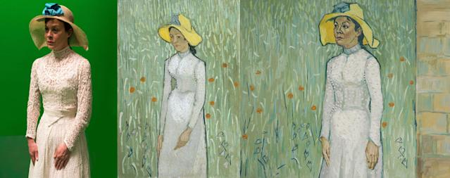 """Helen McCrory as Louise Chevalier. """"Louise Chevalier was Dr. Paul Gachet's housekeeper in Auvers-sur-oise,"""" a description on the """"Loving Vincent"""" website reads. """"When Vincent van Gogh left the asylum in Saint Remy in May 1890, he went to live in Auvers, so Dr. Gachet could keep an eye on him. In the film, our hero Armand Roulin comes across Louise on his journey to discover more about van Gogh, and she shares her opinions and theories about the artist and his mysterious death with Armand. Vincent didn't paint Louise, so we decided to use the two portraits he did of an unnamed woman in Auvers, 'Girl in White' and 'Peasant Woman Against Background of Wheat' for her character in the film."""" (BreakThru Films and Good Deed Entertainment)"""