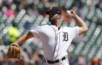 Detroit Tigers starting pitcher Daniel Norris throws during the third inning of a baseball game against the Chicago White Sox, Sunday, April 21, 2019, in Detroit. (AP Photo/Carlos Osorio)