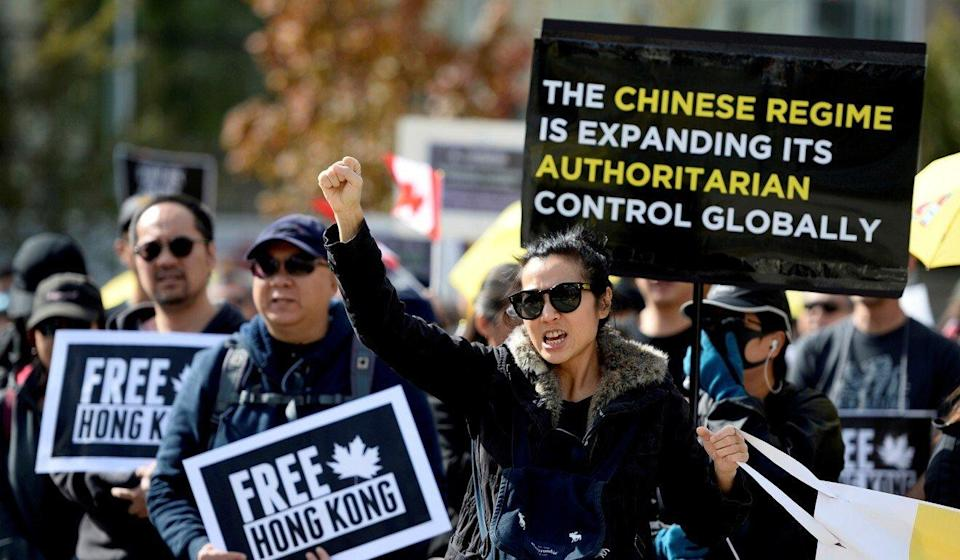 Supporters of the Hong Kong protest movement stage a rally in Vancouver, British Columbia on September 29, 2019. Photo: Reuters