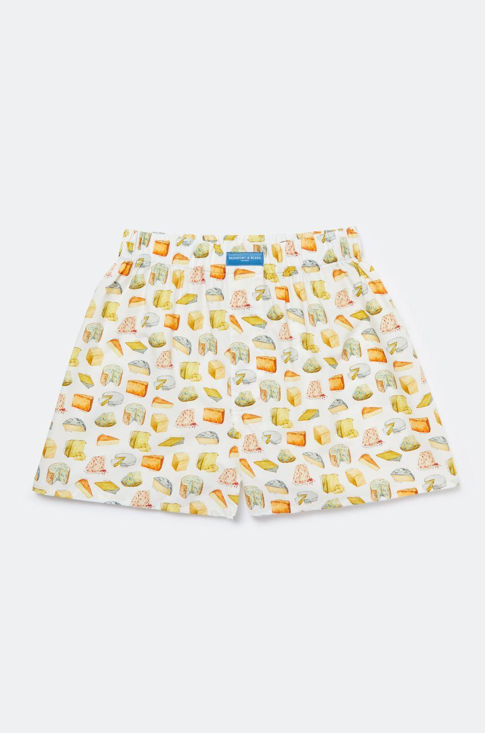 """<p>Featuring a comically cheesy hand-drawn print from Beaufort & Blake, these smile-worthy boxers are made from super-soft, 100 per cent cotton poplin. With a comfortable tunnel waistband and relaxed fit, they make a great stocking filler for him. AD</p><p>£25 for a pair or £60 for three, <a href=""""http://www.beaufortandblake.com"""" rel=""""nofollow noopener"""" target=""""_blank"""" data-ylk=""""slk:Beaufort & Blake"""" class=""""link rapid-noclick-resp"""">Beaufort & Blake</a></p>"""