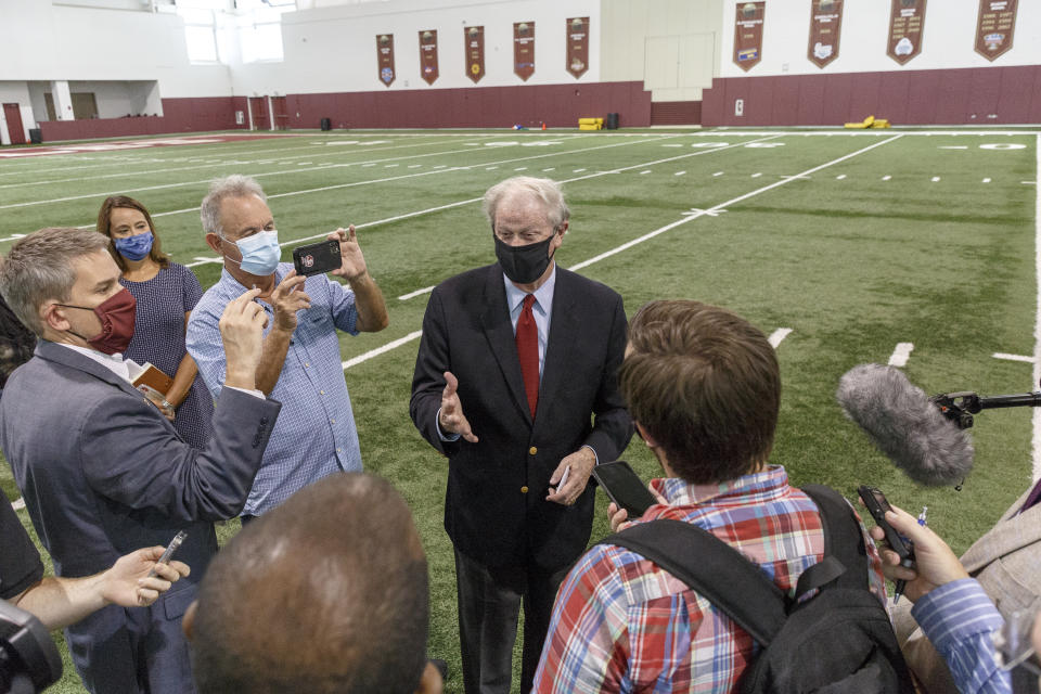 TALLAHASSEE, FL - AUGUST 11: Florida State University President John Thrasher answers questions after the collegiate athletics roundtable about fall sports at the Albert J. Dunlap Athletic Training Facility on the campus of Florida State University on August 11, 2020 in Tallahassee, Florida. (Photo by Don Juan Moore/Getty Images)