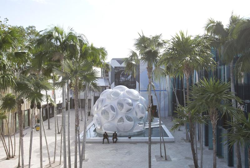 FILE - This Oct. 30, 2015 file photo shows a 24-foot version of inventor Buckminster Fuller's Fly's Eye Dome on display in Miami's Design District. A 50-foot version of the futuristic dome is scheduled to be installed on the grounds of the Crystal Bridges Museum of American Art in Bentonville, Ark., in the summer of 2017. (AP Photo/Wilfredo Lee)