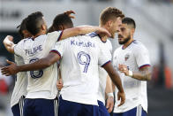 D.C. United players celebrate a goal against the Columbus Crew during the first half of an MLS soccer match Wednesday, Aug. 4, 2021, in Columbus, Ohio. (AP Photo/Jay LaPrete)