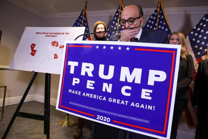 Trump campaign representatives hold news conference on 2020 U.S. presidential election results in Washington