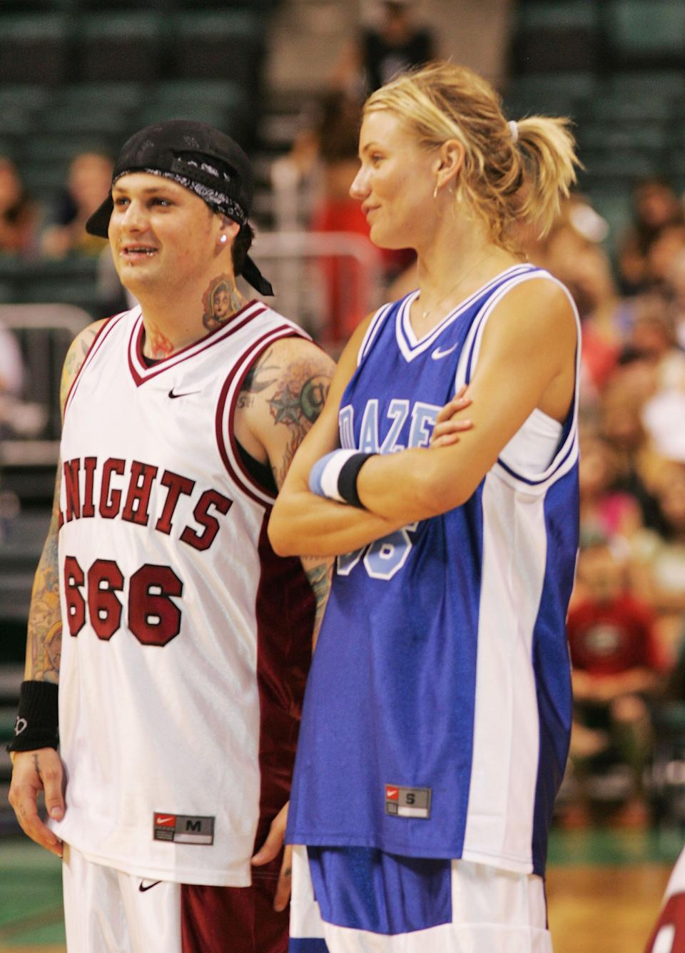 Cameron Diaz and husband, Benji Madden look amazing in basketball outfits as they are ready for the game