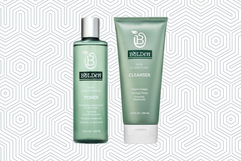 Bolden Skin Brightening Toner and Skin Clarifying Cleanser. (Photos: Bolden; Getty Images; Art: Casey Hollister for Yahoo Lifestyle)