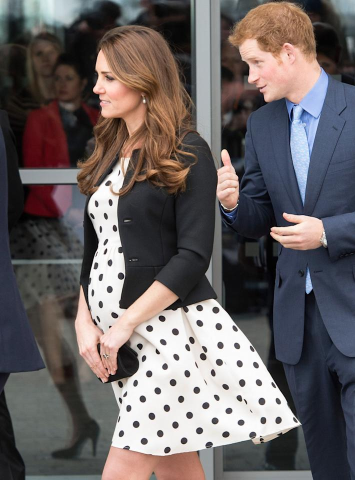 WATFORD, ENGLAND - APRIL 26:  Catherine, Duchess of Cambridge and Prince Harry attend the Inauguration Of Warner Bros. Studios Leavesden on April 26, 2013 in Watford, England.   attend the inauguration of Warner Bros. Studio Tour London on April 26, 2013 in Watford, England.  (Photo by Mark Cuthbert/UK Press via Getty Images)