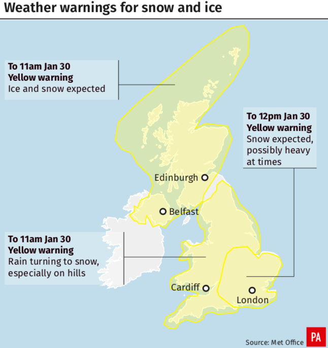 <em>Warnings for ice have also been issued (PA)</em>