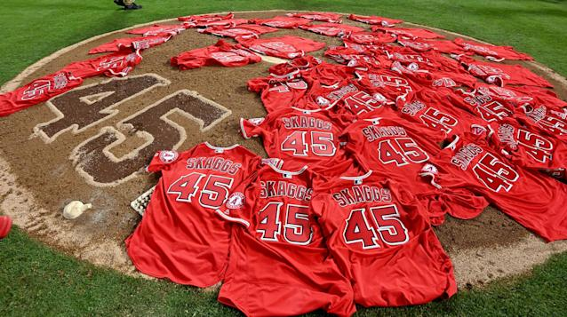 MLB is reacting to the death of Tyler Skaggs by discussing opioid testing for all MLB ballplayers. (Photo by Keith Birmingham/MediaNews Group/Pasadena Star-News via Getty Images)