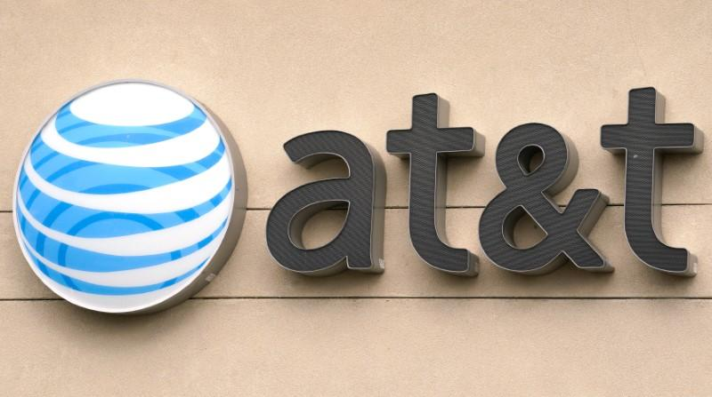 The AT&T logo is seen on a store in Golden, Colorado