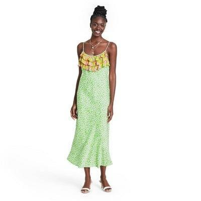 <p>Add a dose of vintage-chic style to your wardrobe with this romantic and feminine <span>Rixo Leopard Sleeveless Ruffle Slip Dress</span> ($50).</p>