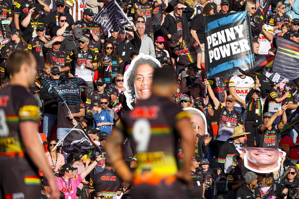Penrith Panthers fans show support during the Round 12 NRL match between the Penrith Panthers and the Canterbury Bulldogs at Bluebet Stadium in Sydney in May. Source: AAP