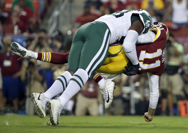 The NFL is expected to take on the confusing, controversial helmet rule that has dominated preseason in a Wednesday conference call. (AP)