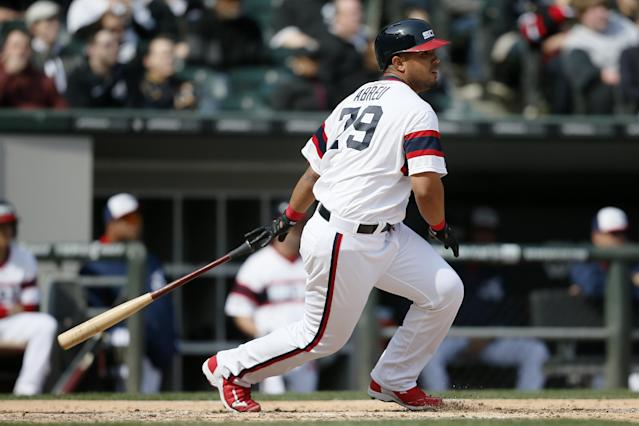 Chicago White Sox's Jose Abreu watches his two-RBI single against the Tampa Bay Rays during the seventh inning of a baseball game, Sunday, April 27, 2014, in Chicago. (AP Photo/Andrew A. Nelles)