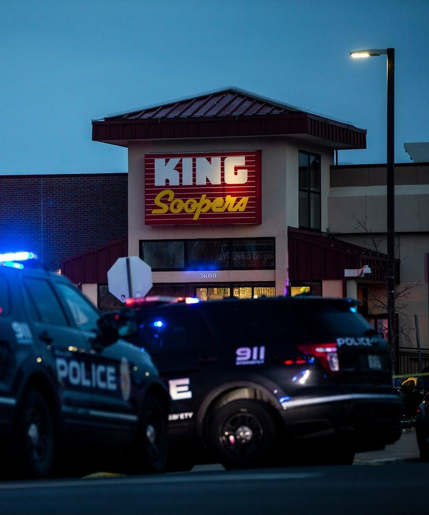 BOULDER, CO – MARCH 22: Police respond at a King Sooper's grocery store where a gunman opened fire on March 22, 2021 in Boulder, Colorado. Ten people, including a police officer, were killed in the attack. (Photo by Chet Strange/Getty Images)