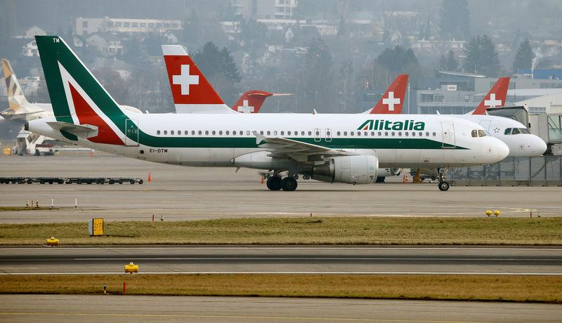 Alitalia Airbus A320-216 aircraft is seen at Zurich Airport