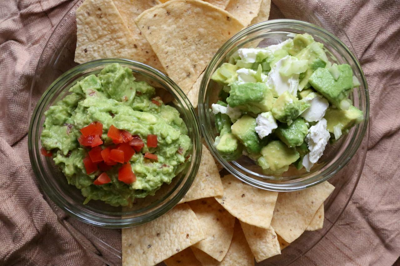 "<p><strong>Bench: Creamy or Cheesy Dips</strong><br> <strong>Start: Black Bean Dip, Hummus, and Slimmed-Down Guac</strong></p> <p>Black bean dip and hummus are low in saturated fat and provide filling protein and fiber. Since it's not a Super Bowl party without guac, I lighten up traditional guacamole by infusing more veggies to balance out the fat from the avocados. Here's my favorite <a href=""http://appforhealth.com/2014/08/guacamole-recipe/"" target=""_blank"" class=""ga-track"" data-ga-category=""Related"" data-ga-label=""http://appforhealth.com/2014/08/guacamole-recipe/"" data-ga-action=""In-Line Links"">skinny guac</a> recipe, which contains an extra dose of tomatoes.</p>"