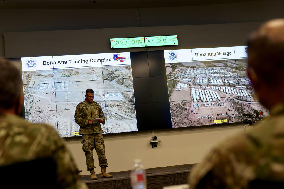 At a briefing for media in El Paso, Texas, Friday, Sept. 10, 2021, aerial photos show the transformation of Fort Bliss' Doña Ana Training Complex before Aug. 13, at left, into Doña Ana Village after Sept. 7, at right, built to house Afghan refugees. The Biden administration provided the first public look inside the U.S. military base where Afghans airlifted out of Afghanistan are screened, amid questions about how the government is caring for the refugees and vetting them. (AP Photo/David Goldman)