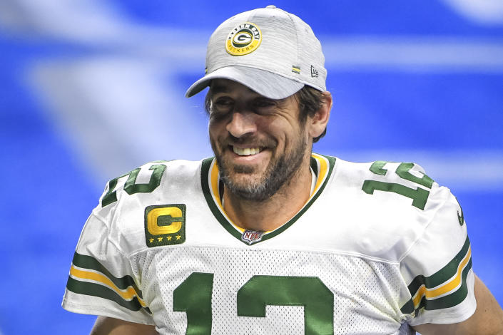 DETROIT, MICHIGAN - DECEMBER 13: Aaron Rodgers #12 of the Green Bay Packers looks on and smiles after the win against the Detroit Lions at Ford Field on December 13, 2020 in Detroit, Michigan. (Photo by Nic Antaya/Getty Images)
