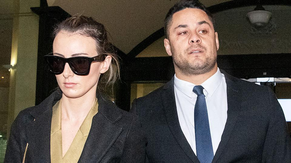 Jarryd Hayne and wife Amellia Bonnici, pictured here at Downing Centre District Court.