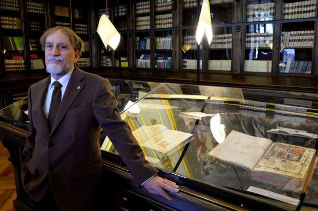 Professor of Romance Philology, Roberto Antonelli, poses at the Library of the Academy of the Lincei and Corsiniana , on March 30, 2016 during a press preview of the exhibition