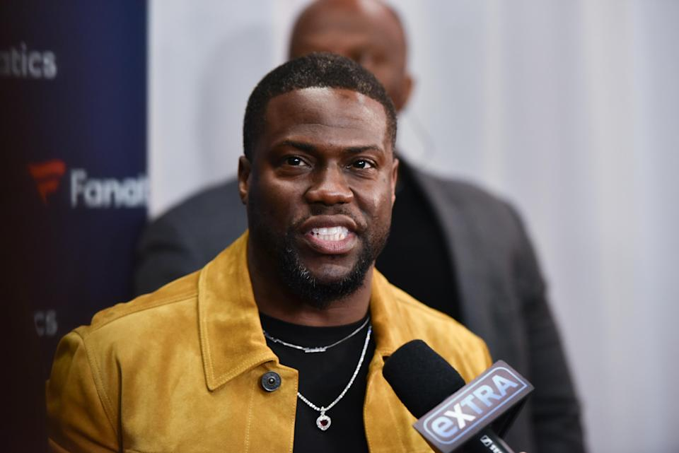 Kevin Hart walking the red carpet at the Fanatics Super Bowl Party held at Chick-fil-A College Football Hall of Fame in Atlanta, Georgia on Feb. 2, 2019. (Photo by TJ Roth/Sipa USA)