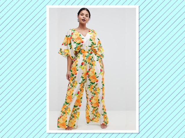 "<p>Kimono Jumpsuit with Wide Leg In Fruit Print, $76, <a href=""http://us.asos.com/asos-curve/asos-design-curve-kimono-jumpsuit-with-wide-leg-in-fruit-print/prd/9409876?SearchQuery=&cid=9577&clr=yellowfloral&gridcolumn=4&gridrow=1&gridsize=4&pge=1&pgesize=72&totalstyles=29"" rel=""nofollow noopener"" target=""_blank"" data-ylk=""slk:asos.com"" class=""link rapid-noclick-resp"">asos.com </a> </p>"