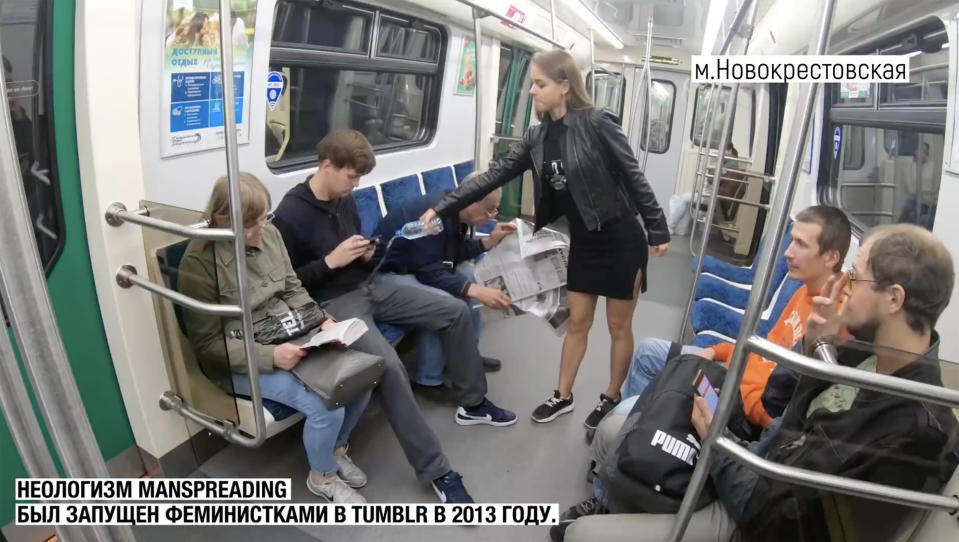 Anna Dovgalyuk has filmed herself splashing a combination of bleach and water on men's crotches on St Petersburg metro underground train in Russia to protest manspreading. Source: East2West/Australscope