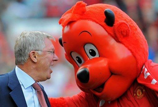 Manchester United manager Sir Alex Ferguson and club mascot Fred the Red