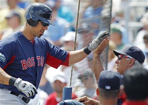 Boston Red Sox manager Bobby Valentine, right, congratulates Josh Kroeger on his solo home run against the Tampa Bay Rays during the second inning of a spring training baseball game in Port Charlotte, Fla., Sunday, March 18, 2012. (AP Photo/Charles Krupa)