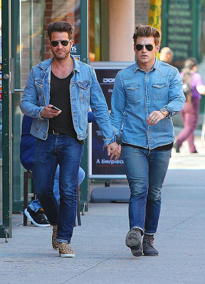What's the only thing more unbearable than the terrifying denim-on-denim trend? Adult couples -- like designer Nate Berkus and his hubby-to-be, Jeremiah Brent -- who purposely dress in matching duds. Ugh! (4/17/2013)