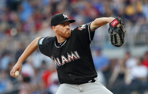 Miami Marlins starting pitcher Dan Straily works in the seventh inning of a baseball game against the Atlanta Braves, Friday, May 18, 2018, in Atlanta. Miami won 2-0. (AP Photo/John Bazemore)