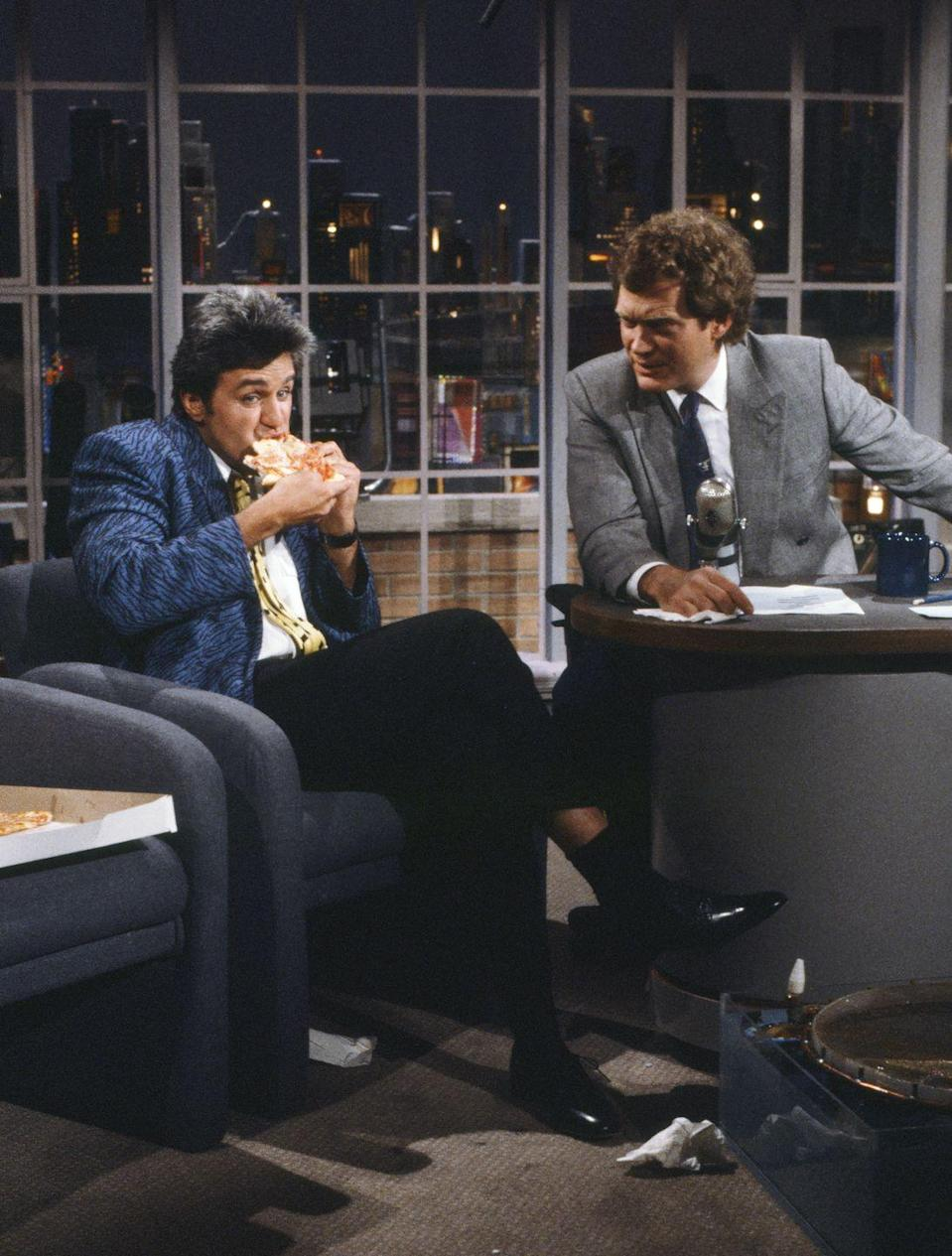 """<p>Thus began the long-standing rivalry known as the """"Late Night Wars,"""" as the two talk shows — and the two hosts — competed for ratings over the next two decades, before both retiring from their respective shows. Jay then <a href=""""https://www.hollywoodreporter.com/news/jay-leno-david-letterman-he-was-mean-me-it-was-funny-1049183"""" rel=""""nofollow noopener"""" target=""""_blank"""" data-ylk=""""slk:later said in 2017:"""" class=""""link rapid-noclick-resp"""">later said in 2017:</a> """"The idea that there was a huge rift between me and Dave — yeah, of course there was. And our shows were very competitive ... but it doesn't mean you don't respect each other.""""</p><p><strong>RELATED: </strong><a href=""""https://www.goodhousekeeping.com/life/entertainment/g33070837/short-lived-talk-shows/"""" rel=""""nofollow noopener"""" target=""""_blank"""" data-ylk=""""slk:20 Stars You Forgot Had Short-Lived Talk Shows"""" class=""""link rapid-noclick-resp"""">20 Stars You Forgot Had Short-Lived Talk Shows</a></p>"""