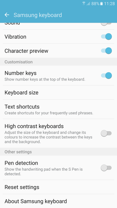 galaxy s tips and tricks keyboard size