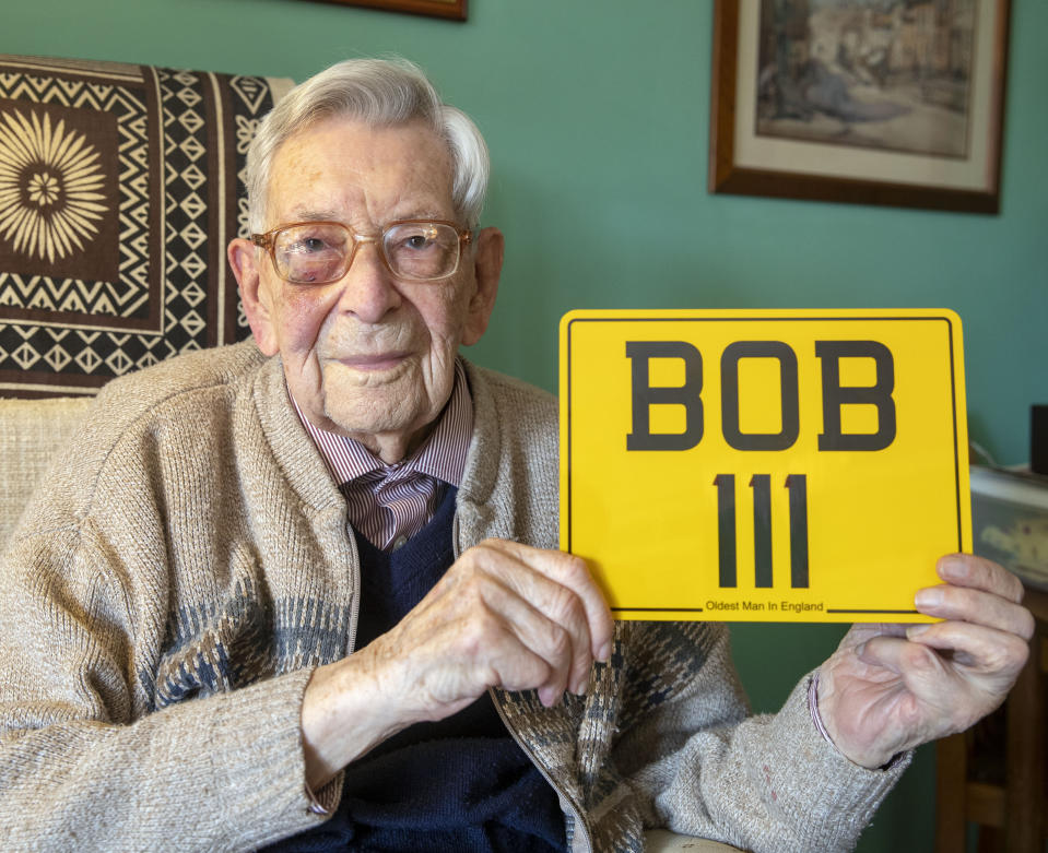 Bob Weighton with his personalised number plate. Source: PA
