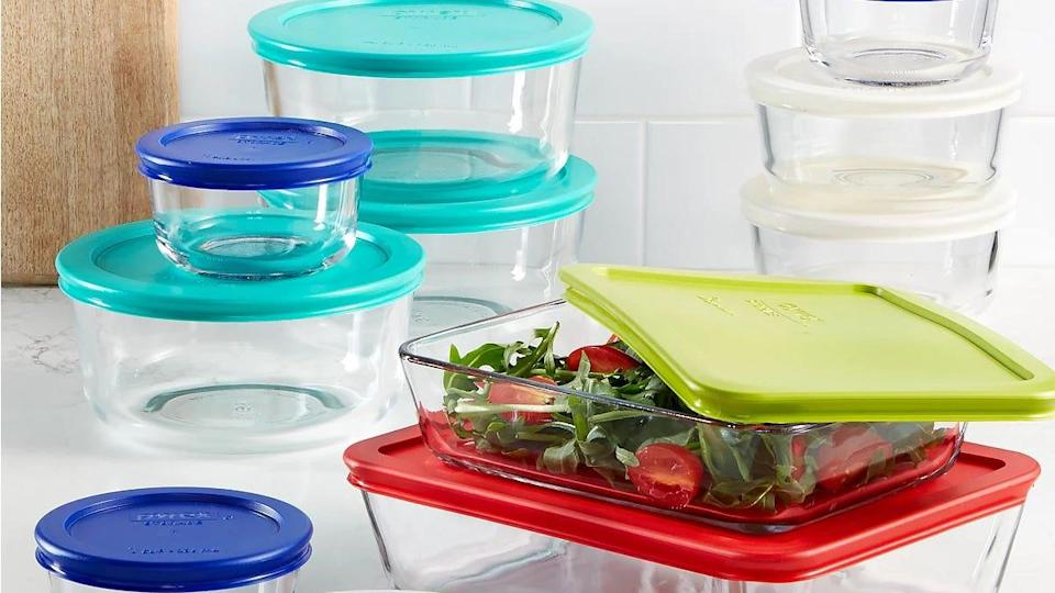 This Pyrex food container set is dishwasher and microwave safe.