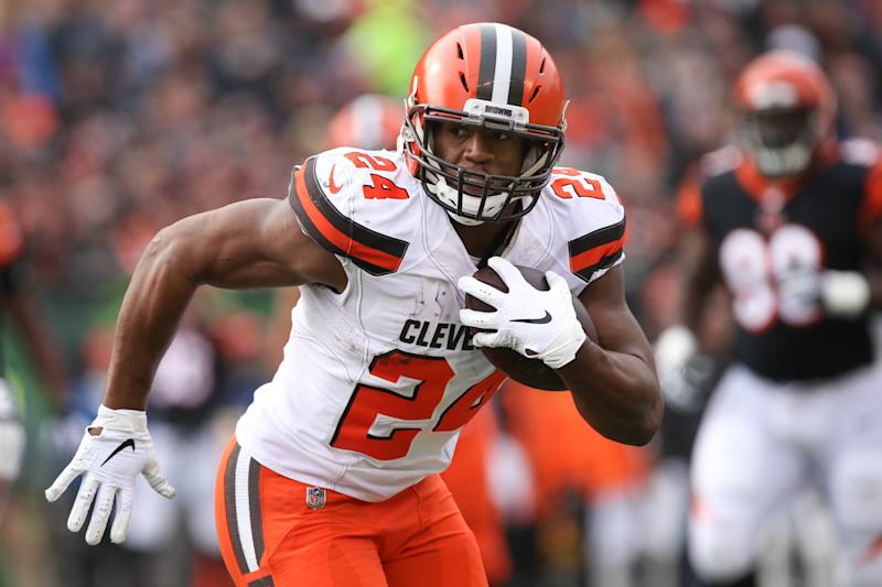 Nick Chubb has the situation and talent to be the best running back in fantasy this season. (Photo by Ian Johnson/Icon Sportswire via Getty Images)