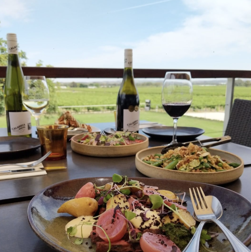 A table of food and wine at The Barossa's Harvest Kitchen in South Australia
