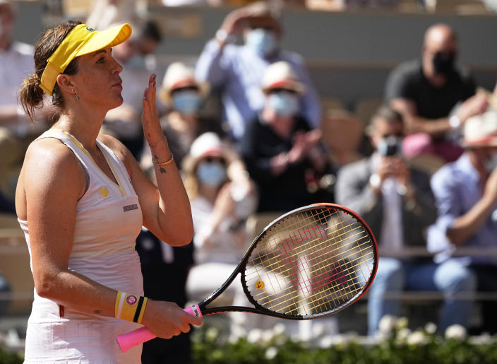Russia's Anastasia Pavlyuchenkova throws a kiss to the audience after defeating Slovenia's Tamara Zidansek in their semifinal match of the French Open tennis tournament at the Roland Garros stadium Thursday, June 10, 2021 in Paris. (AP Photo/Michel Euler)