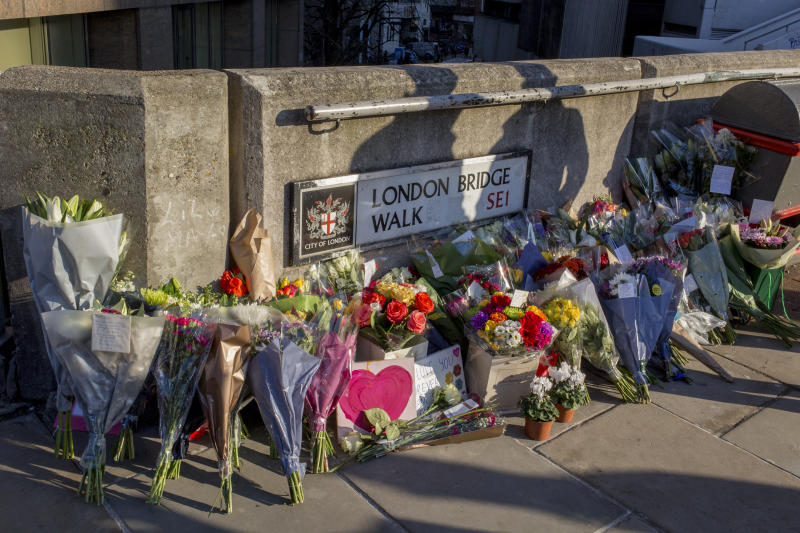 Flowers left at the London Bridge scene of the killing of Jack Merritt, 25, and Saskia Jones, 23. Pictures via Getty Images)