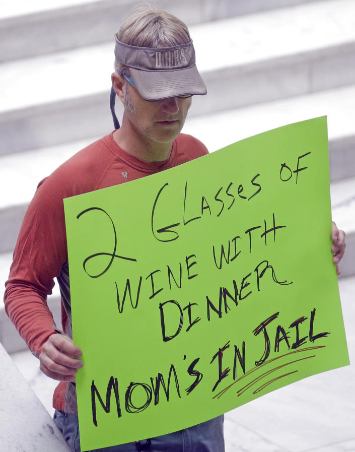 FILE - In this March 17, 2017, file photo, a protester holds a sign during a rally concerning the DUI threshold at the Utah State Capitol in Salt Lake City. New Year's Eve revelers in Utah may find themselves with more than a hangover as 2019 dawns: If they drink and drive, they could get hit by the newest and lowest DUI threshold in the nation. The .05 percent limit goes into effect Dec. 30, despite protests that it will punish responsible drinkers, hurt the state's tourism industry and amplify its alcohol-unfriendly reputation. (AP Photo/Rick Bowmer, File)