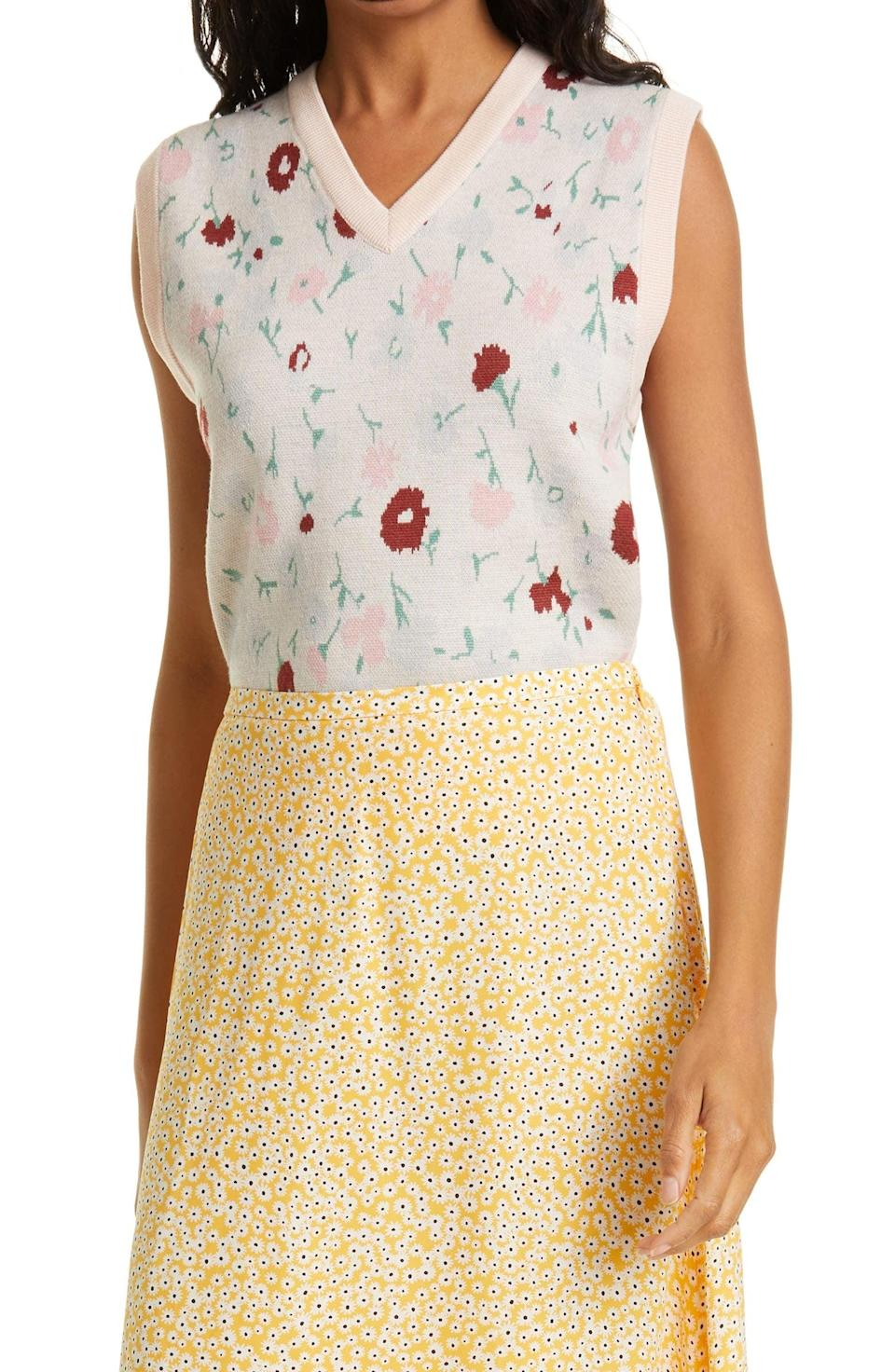 <p>If you swear by floral prints for the spring, look no further than this dainty <span>Samsoe Samsoe Ina Floral Sweater Vest</span> ($160).</p>
