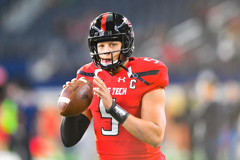 Texas Tech QB Patrick Mahomes was the third quarterback selected in the 2017 NFL draft. (Photo by John Weast/Getty Images)