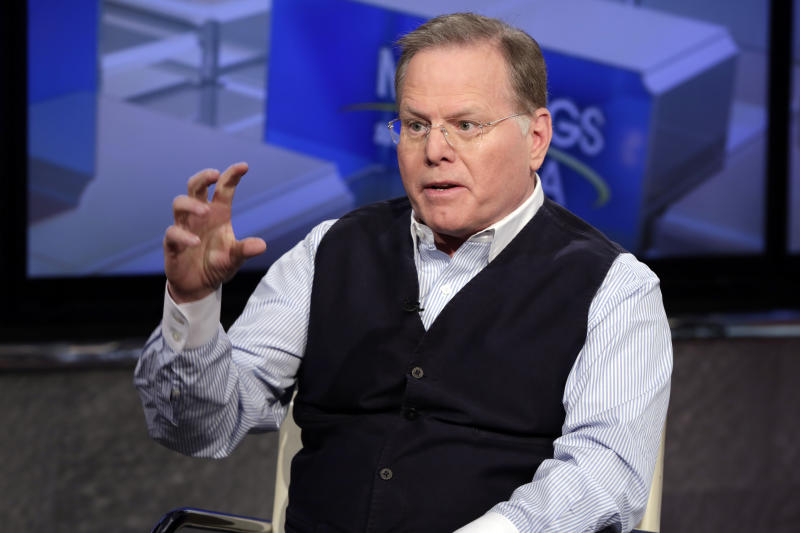 "Discovery Communications CEO David Zaslav is interviewed by host Maria Bartiromo on the ""Mornings with Maria"" program on the Fox Business Network, in New York, Tuesday, March 13, 2018. (AP Photo/Richard Drew)"