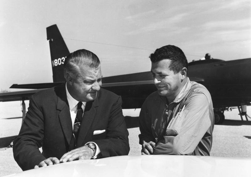Pilot Francis Gary Powers (R) speaks with U-2 designer Kelly Johnson in this 1966 U.S. Air Force handout photo. Powers was a USAF fighter pilot recruited by the CIA in 1956 to fly civilian U-2 missions deep into Russia. Powers and other USAF Reserve pilots resigned their commissions to become civilians. REUTERS/Lockheed/Handout (UNITED STATES - Tags: SCIENCE TECHNOLOGY MILITARY POLITICS) FOR EDITORIAL USE ONLY. NOT FOR SALE FOR MARKETING OR ADVERTISING CAMPAIGNS. THIS IMAGE HAS BEEN SUPPLIED BY A THIRD PARTY. IT IS DISTRIBUTED, EXACTLY AS RECEIVED BY REUTERS, AS A SERVICE TO CLIENTS