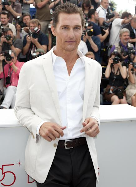 Actor Matthew McConaughey poses during a photo call for Mud at the 65th international film festival, in Cannes, southern France, Saturday, May 26, 2012. (AP Photo/Jonathan Short)