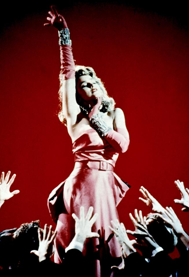 "Madonna recreated Marilyn Monroe's musical number ""<a href=""http://movies.yahoo.com/movie/gentlemen-prefer-blondes/"">Gentlemen Prefer Blondes</a>"" in her music video for ""Material Girl."""