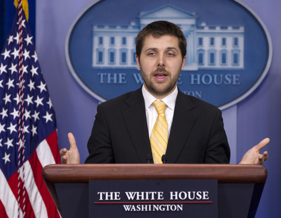 FILE - In this April 17, 2012 file photo, National Economic Council Deputy Director Brian Deese speaks during the daily news briefing at the White House in Washington. On Monday, the White House announced that President Barack Obama will nominate Deese as deputy budget director.  (AP Photo/Carolyn Kaster, File)